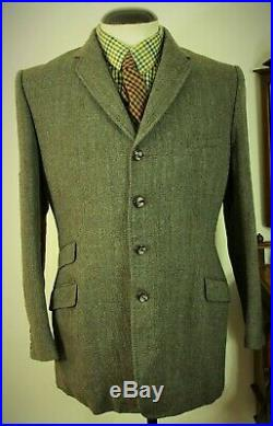 Rare 4 Button Early Vintage Mens 3 piece Tweed Suit Size 40 MEDIUM 32 34 W 31 L