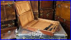 Rare English Leather Hard Sided Suitcase Suit Carrier Hanger Vintage Suit