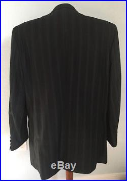 Saint John VTG Double Breasted Suit Black Pinstriped Wool Blend Mens size 46L