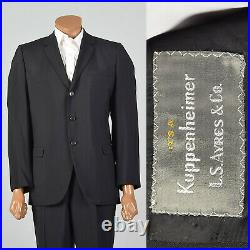Small 1950s Two Piece Suit Black Three Button Jacket VTG Pleated Cuffed Hem Pant