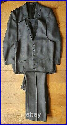 Tailored vintage 1970, S HEPWORTHS POW Check Tailored 3 Piece Flared Suit 42 34