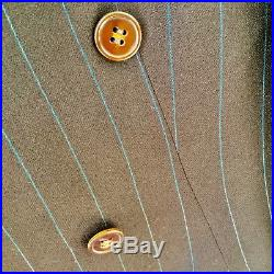 VINTAGE 1940s Men's DOUBLE-BREASTED PINSTRIPE SUIT Brown/Blue with2 PAIRS of PANTS