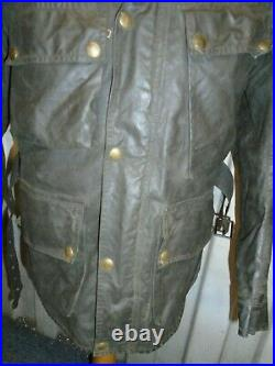 VINTAGE 50's BELSTAFF CHEQUERED FLAG WAXED COTTON 3 PIECE SUIT JACKET SIZE 40