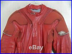 VINTAGE 70's BMW MOTORAD RED LEATHER 2 PIECE MOTORCYCLE SUIT SIZE 44