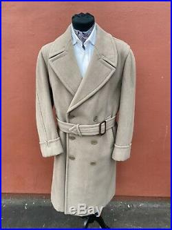 VINTAGE MEN DOUBLE BREASTED BELTED LONG TRENCH COAT 40 R 1940s LIGHT BROWN