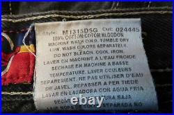 VINTAGE USED JNCO JEANS BLACK BAGGY JEANS Embroidered Card Suits 32x30 Good Cond