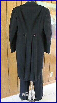 VTG 1940s 50s Mens Wool Tuxedo Formal Suit Topcoat with Tails & Pants Lg Sz