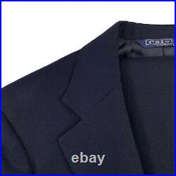 VTG 38 S Polo Ralph Lauren Solid Navy Blue Flannel Weight Wool Suit Made USA