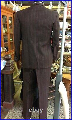 VTG 40s Pinstripe Double Breasted Jacket Pleated CUFF Pants Suit 42 Mens 37w