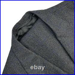 VTG 48 R Oxxford Clothes Grey Windowpane Flannel Weight 3/2 Roll Wool Suit