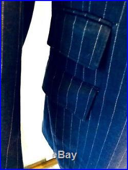 VTG. 60's MOD NAVY PINSTRIPE ENGLISH STYLE MENS SUIT w CUFFFED PANTS SZ 38/40R