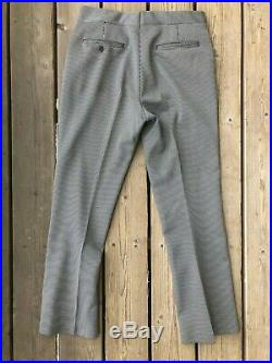 VTG 70s Men's Polyester Leisure Suit B+W Houndstooth Disco Bell Bottom Pants