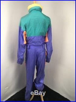 VTG 80s Columbia Ski Suit One Piece Radial Sleeve Epic NEON Periwinkle MENS M