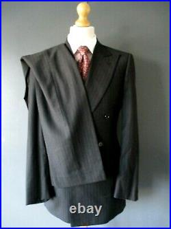 VTG GIEVES & HAWKES SUIT (40x33x34-LONG) CHALK STRIPE BRUSHED WOOL D/BREASTED De