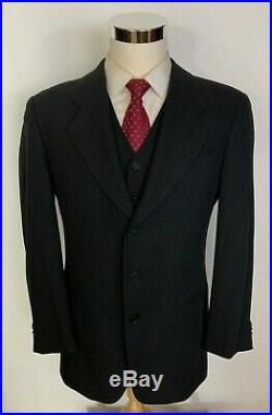 VTG Giorgio Armani Collezioni Macy's Charcoal 3 Piece Wool Suit withVest 40S 36x27