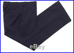 VTG Hickey Freeman Solid Navy Blue Wool 3pc Suit Jacket Pants Vest 40 R
