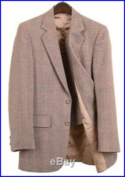 VTG Nino Cerruti Brown Plaid Check TWEED Wool 3pc Suit Jacket Vest Pants 36