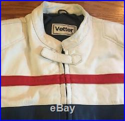 VTG One Piece Vetter Leather Motorcycle Racing Suit Red White Blue Size 42 EUC
