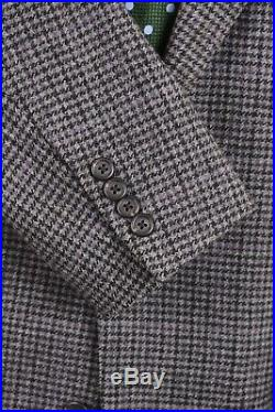 VTG Polo Ralph Lauren Gray Houndstooth Check TWEED Wool Suit Jacket Pants 42 L