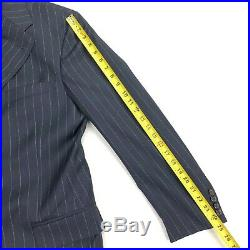 VTG Polo Ralph Lauren Italy Mens Navy Blue Striped Wool Suit Size 40L 34x32