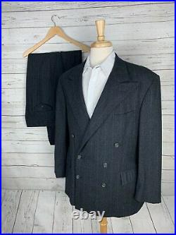 VTG Polo Ralph Lauren Mens Flannel Wool Double Breasted Suit Stripe 42R 34x30