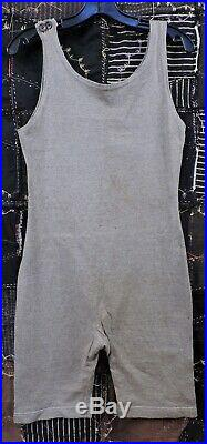 Vintage 1920s Mens Gray Jersey Gym Sporting Swimsuit / Swim Suit
