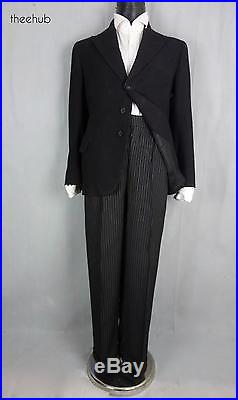 Vintage 1920s Pinstripe Button Fly Oxford Bags Wool Gent's City 2 Piece Suit
