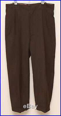 Vintage 1930-40s Mens 40S Custom 2 Piece Brown Plaid Wool Double Breasted Suit