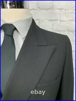 Vintage 1930s Mens Black Wool Double Breasted 2pc Suit 38S