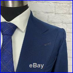 Vintage 1930s Mens Blue Wool Double Breasted Suit Jacket Sport Coat 38S