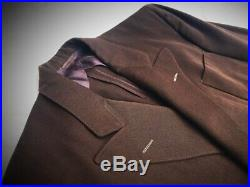 Vintage 1940s Mens Brown Gabardine Double Breasted Hollywood Waist Suit Sz 40