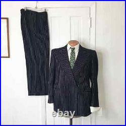 Vintage 1940s Mens Suit Blue Pinstripe Double Breasted Wool