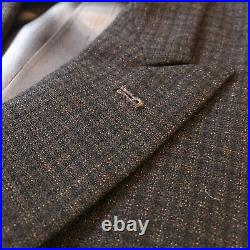 Vintage 1950s Brown Check Wool Double Breasted Suit