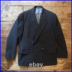 Vintage 1950s Grey Check Wool Double Breasted Bespoke Thiery Suit