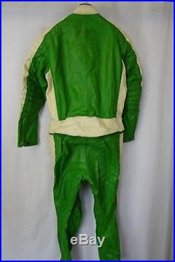 Vintage 1970's Condor 2 Piece Leather Motorcycle Race Suit 46R W36 L29 AA1637