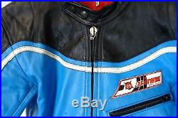 Vintage 1970's DAINESE 2 Piece Leather Motorcycle Race Suit 38R W32 L29 AA1663