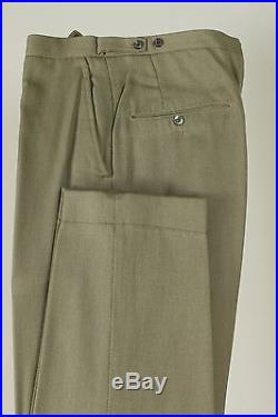 Vintage 38S Slim Mens Green Double Breasted Suit Flat Front Pants Dual Vent 287