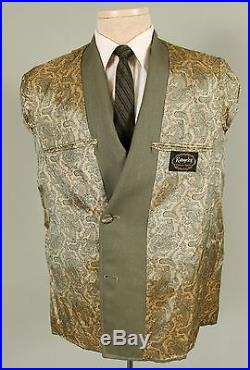 Vintage 38S Slim Mens Green Double Breasted Suit Flat Front Pants Dual Vent 512