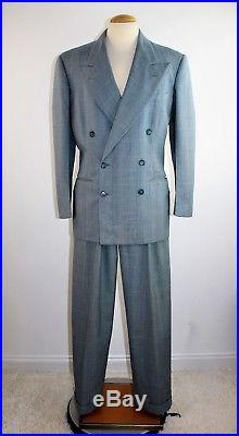 Vintage 40's Men's Rockabilly Blue Double Breasted Suit Size 38 Tag Date 1948