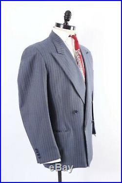 Vintage 40s Rockabilly Wool Pin Stripe Double Breasted Suit USA Mens Size 40 Reg