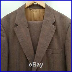 Vintage 60s 70s 80s Mens Brown Check Bespoke Full Suit Apx 40 Chest 34 Waist