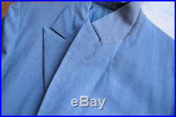 Vintage'69 Hand Made French Bespoke Blue Fresco Striped Suit Size 37-38 Long US