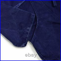 Vintage 70s Italian Workwear Coverall Blue Cotton Twill Overalls Boiler Suit M