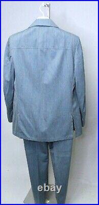 Vintage 70s Mens Leisure Suit Jacket Flared Pants Polyester Disco Baby Blue 44R