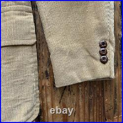 Vintage 70s Retro 3 Piece Corduroy Suit Mens 40R 30x32 Jacket, Vest & Pants