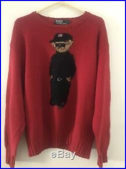 Vintage 96 Polo Bear Sweater Large Red Black Suit, Flag Hat, Sunglasses Sneakers