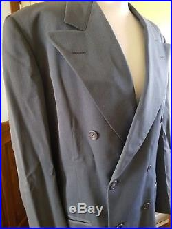 Vintage American 1940s Mens Blue Grey Double Breasted Suit Jacket 40 Pants 33