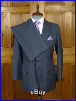 Vintage Anderson & Sheppard Savile Row Bespoke 2-tone Blue Worsted Suit 39 R