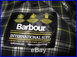 Vintage BARBOUR INTERNATIONAL SUIT Waxed Cotton Full Zip Jacket Size 36