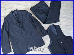 Vintage BROOKS BROTHERS usa made 40R 32x32 blue striped 3PC SUIT wool